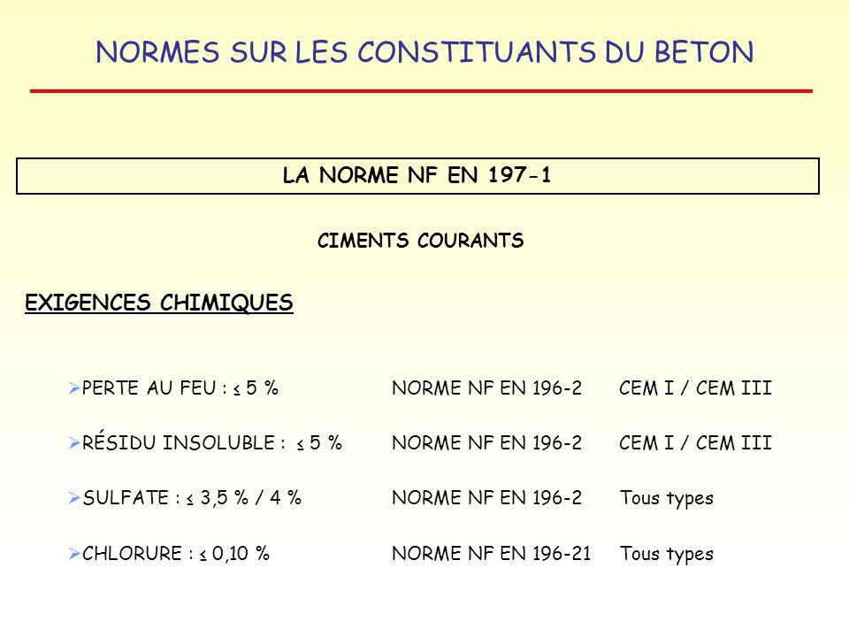 NORMES SUR LES CONSTITUANTS DU BETON LA NORME NF EN 197-1 EXIGENCES CHIMIQUES CIMENTS COURANTS PERTE AU FEU : 5 %NORME NF EN 196-2CEM I / CEM III RÉSI