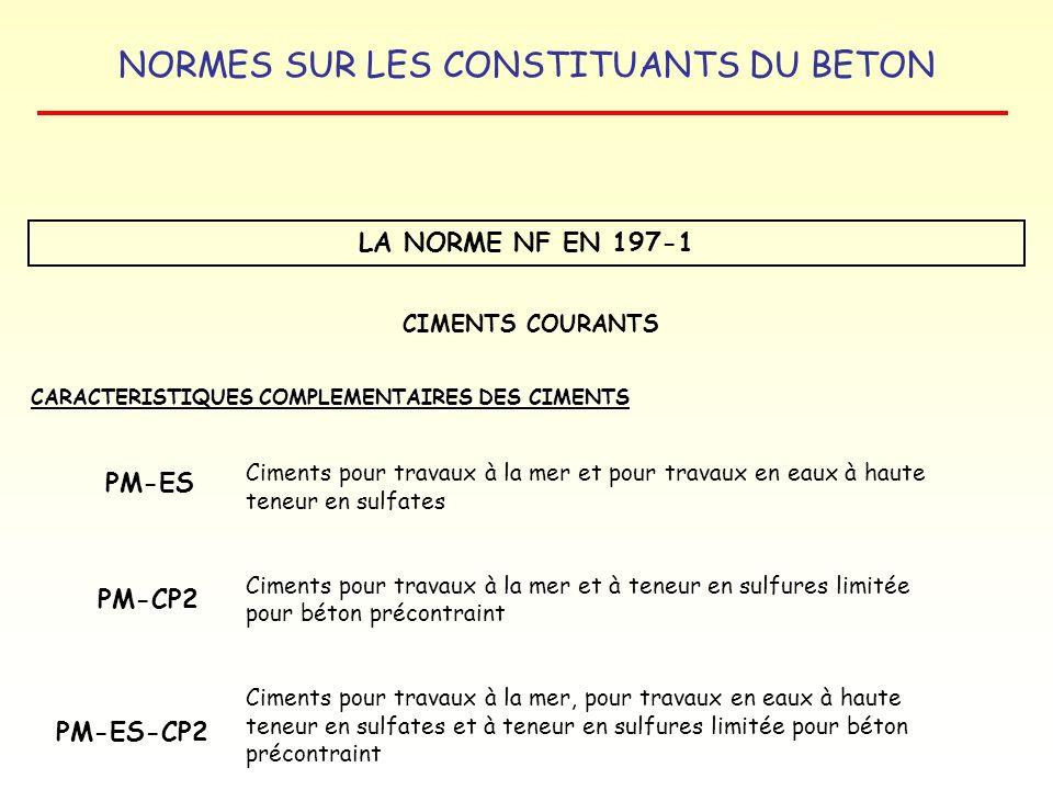 NORMES SUR LES CONSTITUANTS DU BETON LA NORME NF EN 197-1 CARACTERISTIQUES COMPLEMENTAIRES DES CIMENTS CIMENTS COURANTS Ciments pour travaux à la mer