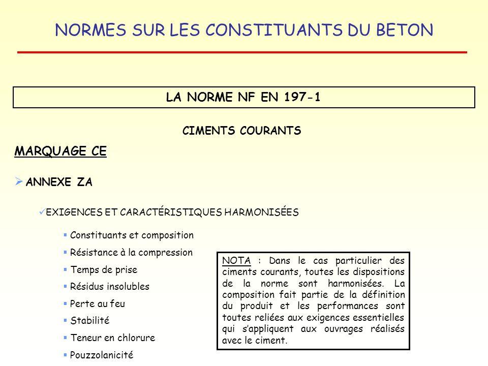NORMES SUR LES CONSTITUANTS DU BETON LA NORME NF EN 197-1 MARQUAGE CE CIMENTS COURANTS ANNEXE ZA EXIGENCES ET CARACTÉRISTIQUES HARMONISÉES Constituant