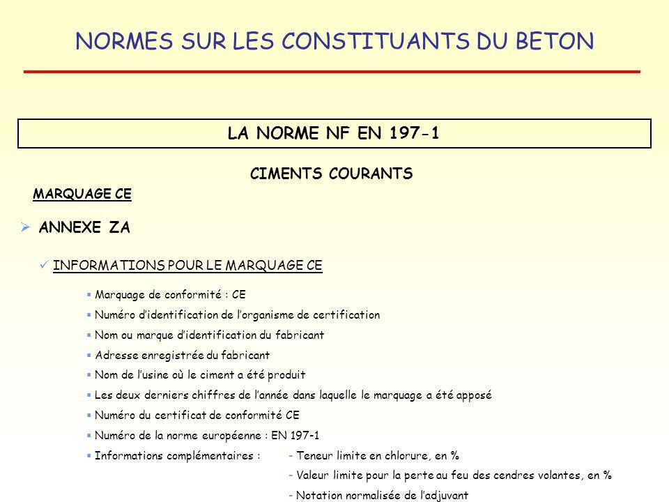 NORMES SUR LES CONSTITUANTS DU BETON LA NORME NF EN 197-1 MARQUAGE CE CIMENTS COURANTS ANNEXE ZA INFORMATIONS POUR LE MARQUAGE CE Marquage de conformi