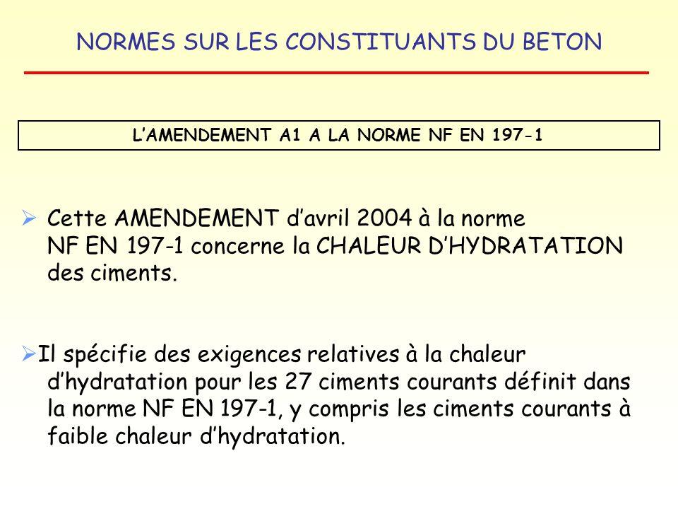 NORMES SUR LES CONSTITUANTS DU BETON LAMENDEMENT A1 A LA NORME NF EN 197-1 Cette AMENDEMENT davril 2004 à la norme NF EN 197-1 concerne la CHALEUR DHY