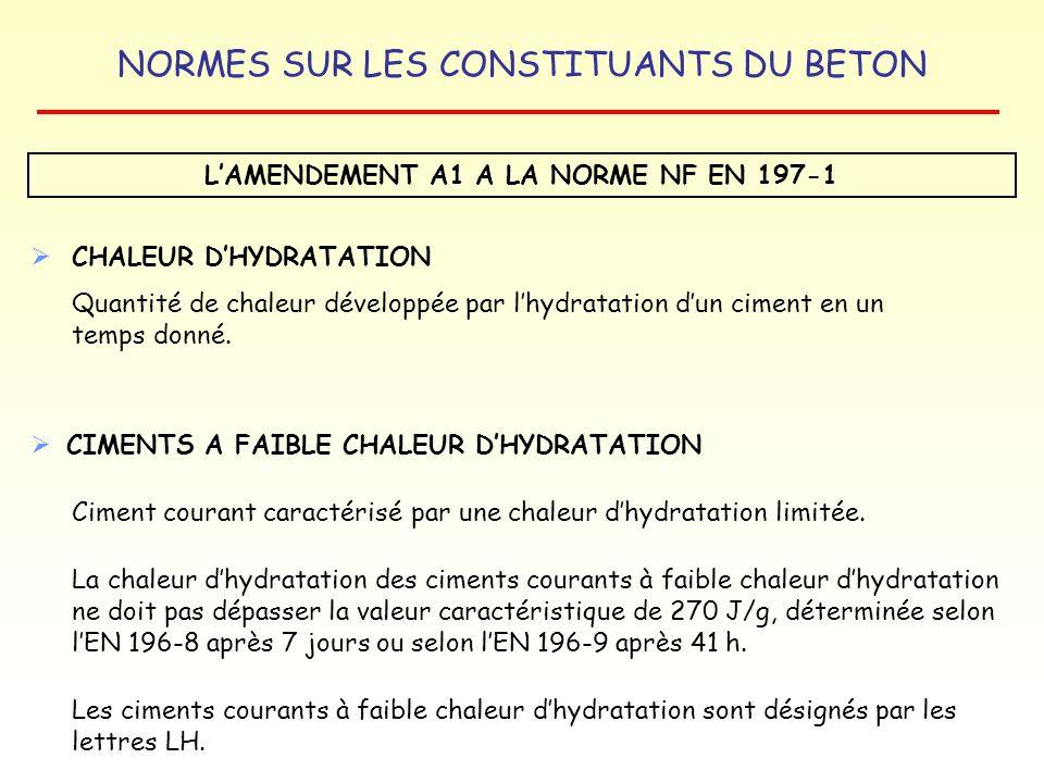 NORMES SUR LES CONSTITUANTS DU BETON LAMENDEMENT A1 A LA NORME NF EN 197-1 CHALEUR DHYDRATATION Quantité de chaleur développée par lhydratation dun ci