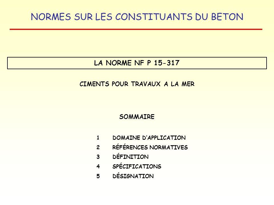 NORMES SUR LES CONSTITUANTS DU BETON LA NORME NF P 15-317 CIMENTS POUR TRAVAUX A LA MER SOMMAIRE 1DOMAINE DAPPLICATION 2RÉFÉRENCES NORMATIVES 3 DÉFINI