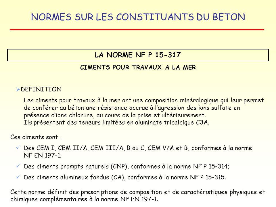 NORMES SUR LES CONSTITUANTS DU BETON LA NORME NF P 15-317 CIMENTS POUR TRAVAUX A LA MER DEFINITION Les ciments pour travaux à la mer ont une compositi