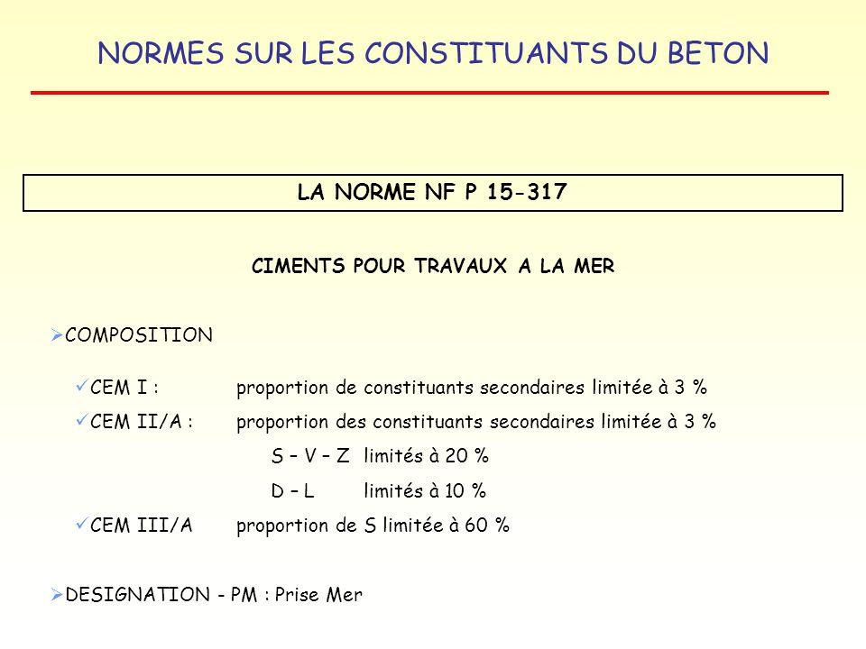 NORMES SUR LES CONSTITUANTS DU BETON LA NORME NF P 15-317 CIMENTS POUR TRAVAUX A LA MER COMPOSITION CEM I : proportion de constituants secondaires lim
