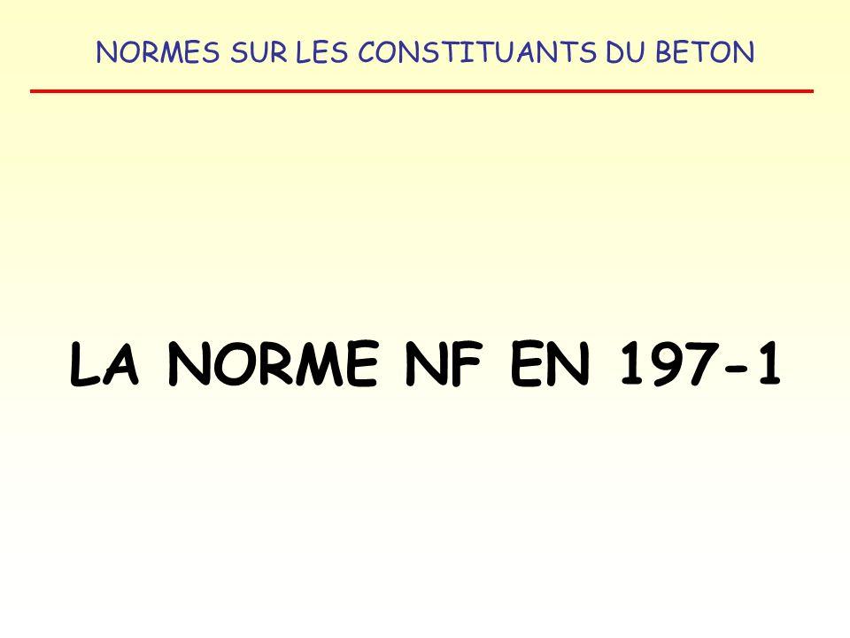 NORMES SUR LES CONSTITUANTS DU BETON LA NORME NF EN 197-1 LES DIFFERENTS CEM II (19 types) CIMENT PORTLAND AU LAITIER : CEM II / A ou B – S CIMENT PORTLAND A LA FUMEE DE SILICE : CEM II / A – D CIMENT PORTLAND A LA POUZZOLANE : CEM II / A ou B – P CEM II / A ou B – Q CIMENT PORTLAND AUX CENDRES VOLANTES : CEM II / A ou B – V CEM II / A ou B - W CIMENT PORTLAND AU SCHISTE CALCINE : CEM II / A ou B – T CIMENT PORTLAND AU CALCAIRE : CEM II / A ou B – L CEM II / A ou B – LL CIMENT PORTLAND COMPOSE : CEM II / A ou B - M CIMENTS COURANTS