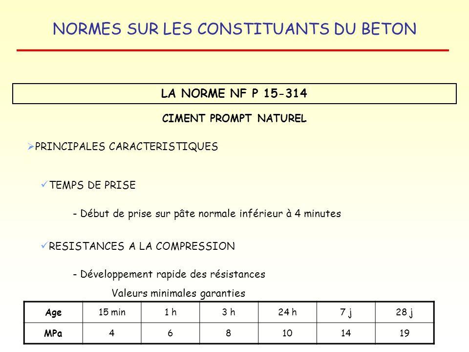 NORMES SUR LES CONSTITUANTS DU BETON LA NORME NF P 15-314 CIMENT PROMPT NATUREL PRINCIPALES CARACTERISTIQUES TEMPS DE PRISE - Début de prise sur pâte