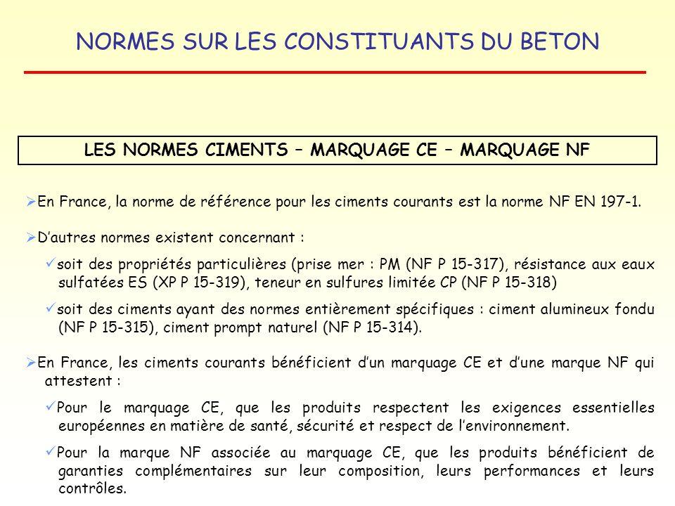 NORMES SUR LES CONSTITUANTS DU BETON LES NORMES CIMENTS – MARQUAGE CE – MARQUAGE NF En France, la norme de référence pour les ciments courants est la