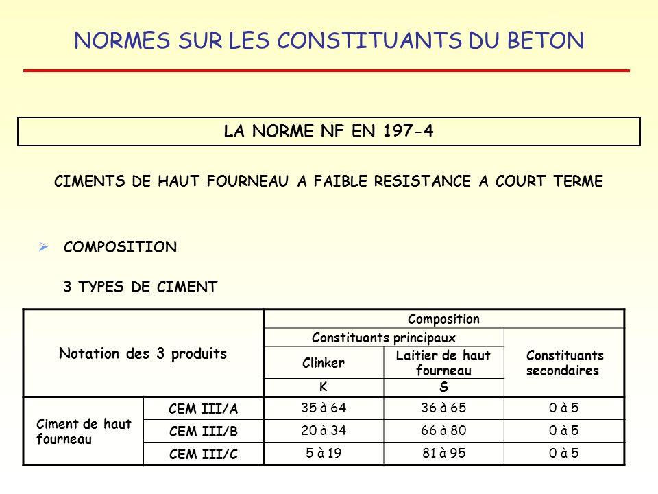 NORMES SUR LES CONSTITUANTS DU BETON LA NORME NF EN 197-4 CIMENTS DE HAUT FOURNEAU A FAIBLE RESISTANCE A COURT TERME COMPOSITION 3 TYPES DE CIMENT Not
