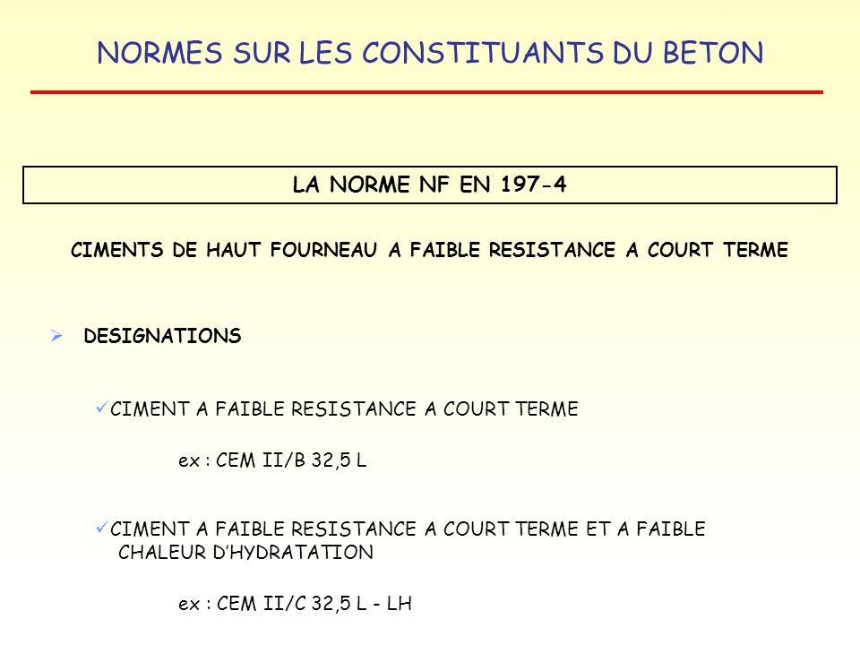 NORMES SUR LES CONSTITUANTS DU BETON LA NORME NF EN 197-4 CIMENTS DE HAUT FOURNEAU A FAIBLE RESISTANCE A COURT TERME DESIGNATIONS CIMENT A FAIBLE RESI