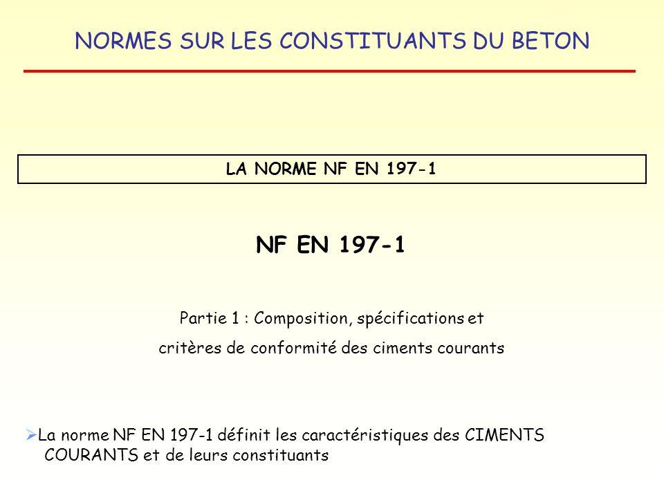NORMES SUR LES CONSTITUANTS DU BETON LA NORME NF EN 197-4 CIMENTS DE HAUT FOURNEAU A FAIBLE RESISTANCE A COURT TERME MARQUAGE CE Les informations suivantes doivent accompagner le marquage CE : - le numéro didentification de lorganisme de certification, - le nom ou la marque et ladresse légale du fabricant, - les deux derniers chiffres de lannée de marquage, - le numéro du certificat de conformité CE ou du certificat de contrôle de la production en usine, - la référence à la Norme européenne : EN 197-4, - la description du produit : la dénomination générique, … et lusage prévu, ex : CEM III/A 42,5 L, - les informations concernant les caractéristiques essentielles pertinentes énumérées dans le tableau ZA.1, ex : teneur limite en chlorure.