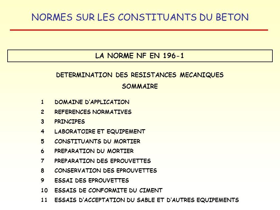 NORMES SUR LES CONSTITUANTS DU BETON LA NORME NF EN 196-1 DETERMINATION DES RESISTANCES MECANIQUES SOMMAIRE 1 DOMAINE DAPPLICATION 2REFERENCES NORMATI