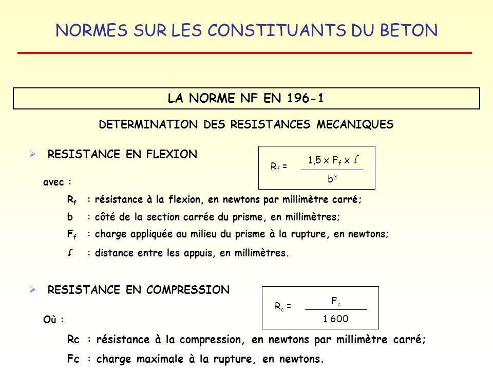 NORMES SUR LES CONSTITUANTS DU BETON LA NORME NF EN 196-1 DETERMINATION DES RESISTANCES MECANIQUES RESISTANCE EN FLEXION avec : R f : résistance à la