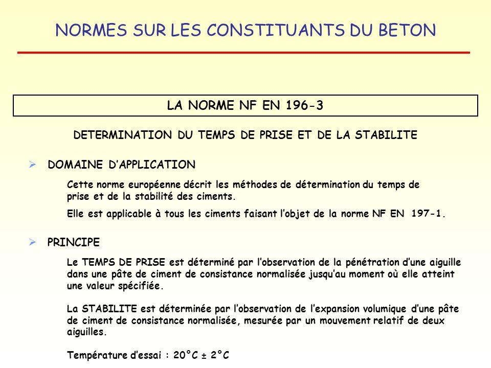 NORMES SUR LES CONSTITUANTS DU BETON LA NORME NF EN 196-3 DETERMINATION DU TEMPS DE PRISE ET DE LA STABILITE DOMAINE DAPPLICATION Cette norme européen