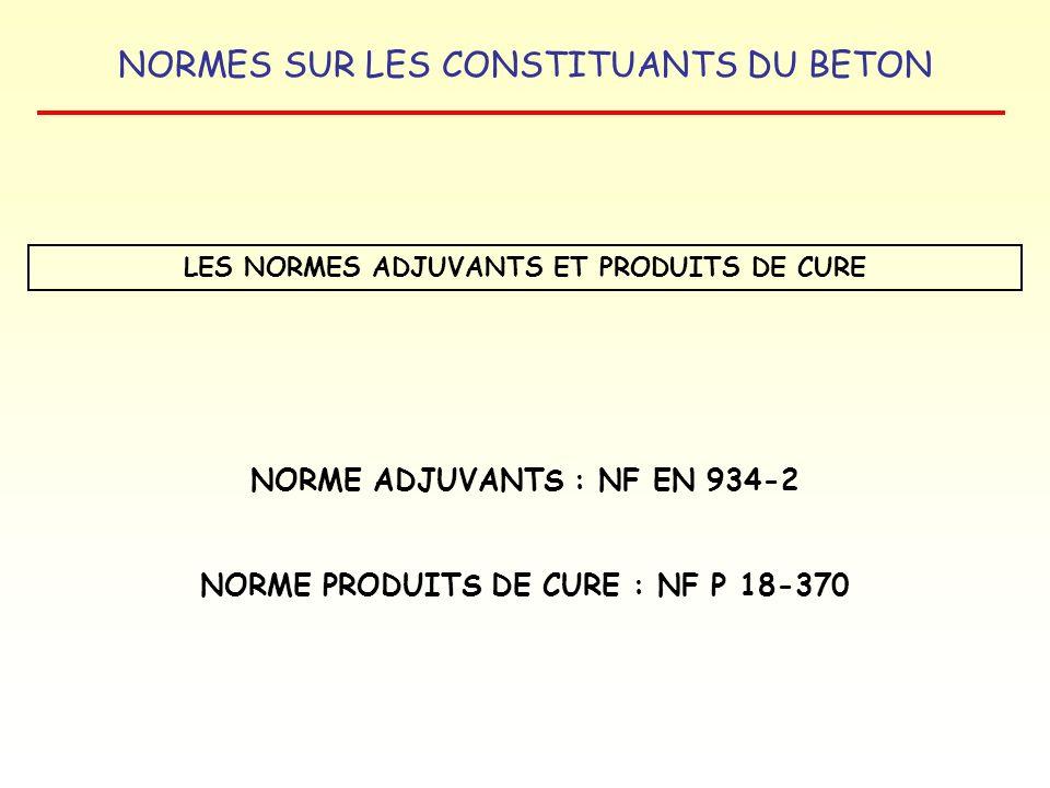 NORMES SUR LES CONSTITUANTS DU BETON LES NORMES ADJUVANTS ET PRODUITS DE CURE NORME ADJUVANTS : NF EN 934-2 NORME PRODUITS DE CURE : NF P 18-370