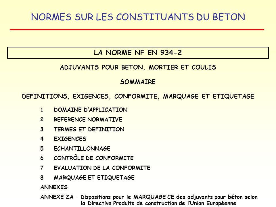 NORMES SUR LES CONSTITUANTS DU BETON LA NORME NF EN 934-2 ADJUVANTS POUR BETON, MORTIER ET COULIS SOMMAIRE DEFINITIONS, EXIGENCES, CONFORMITE, MARQUAG