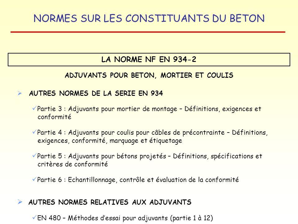 NORMES SUR LES CONSTITUANTS DU BETON LA NORME NF EN 934-2 ADJUVANTS POUR BETON, MORTIER ET COULIS AUTRES NORMES DE LA SERIE EN 934 Partie 3 : Adjuvant