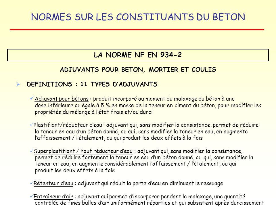 NORMES SUR LES CONSTITUANTS DU BETON LA NORME NF EN 934-2 ADJUVANTS POUR BETON, MORTIER ET COULIS DEFINITIONS : 11 TYPES DADJUVANTS Adjuvant pour béto