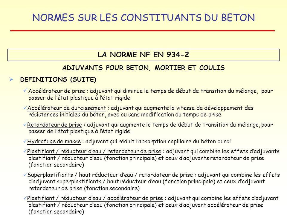 NORMES SUR LES CONSTITUANTS DU BETON LA NORME NF EN 934-2 ADJUVANTS POUR BETON, MORTIER ET COULIS DEFINITIONS (SUITE) Accélérateur de prise : adjuvant