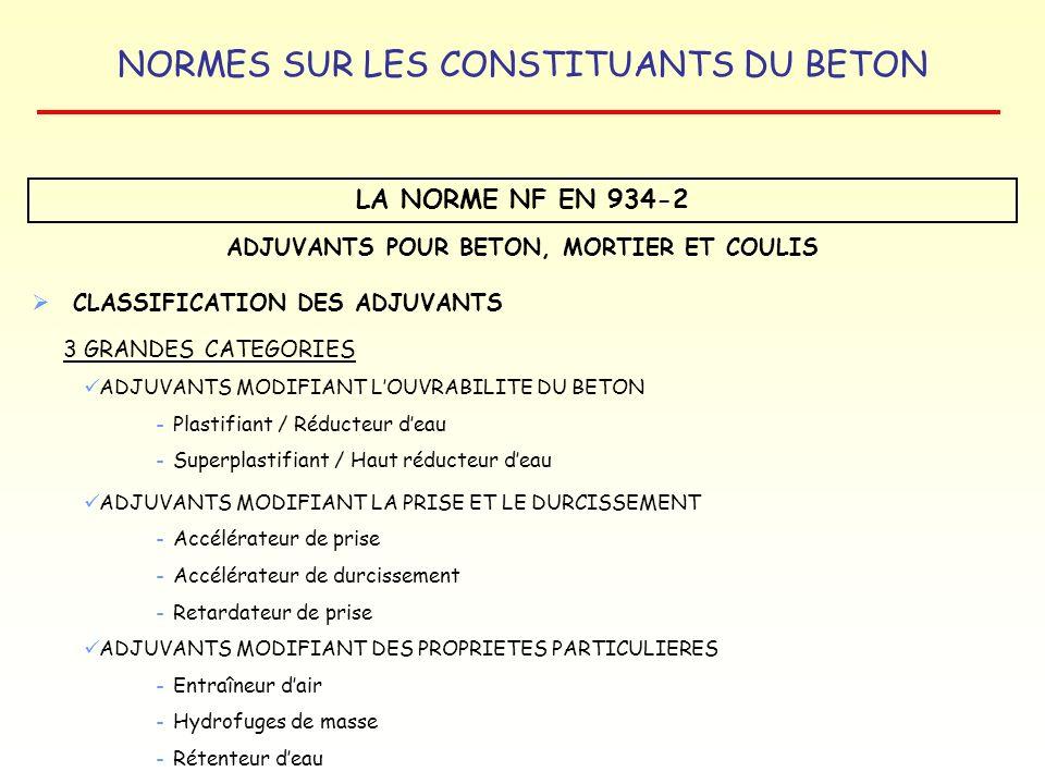 NORMES SUR LES CONSTITUANTS DU BETON LA NORME NF EN 934-2 ADJUVANTS POUR BETON, MORTIER ET COULIS CLASSIFICATION DES ADJUVANTS 3 GRANDES CATEGORIES AD