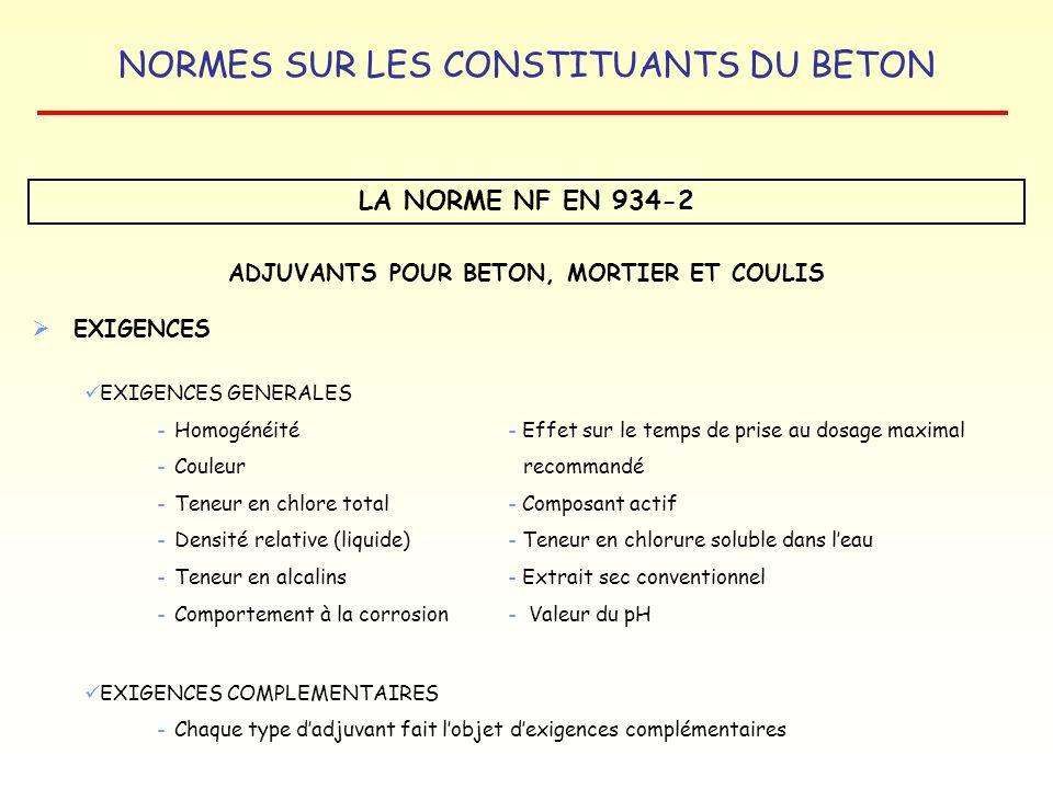 NORMES SUR LES CONSTITUANTS DU BETON LA NORME NF EN 934-2 ADJUVANTS POUR BETON, MORTIER ET COULIS EXIGENCES EXIGENCES GENERALES - Homogénéité- Effet s