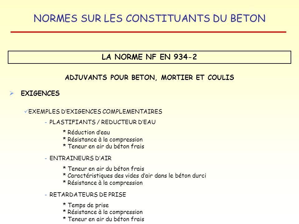 NORMES SUR LES CONSTITUANTS DU BETON LA NORME NF EN 934-2 ADJUVANTS POUR BETON, MORTIER ET COULIS EXIGENCES EXEMPLES DEXIGENCES COMPLEMENTAIRES - PLAS