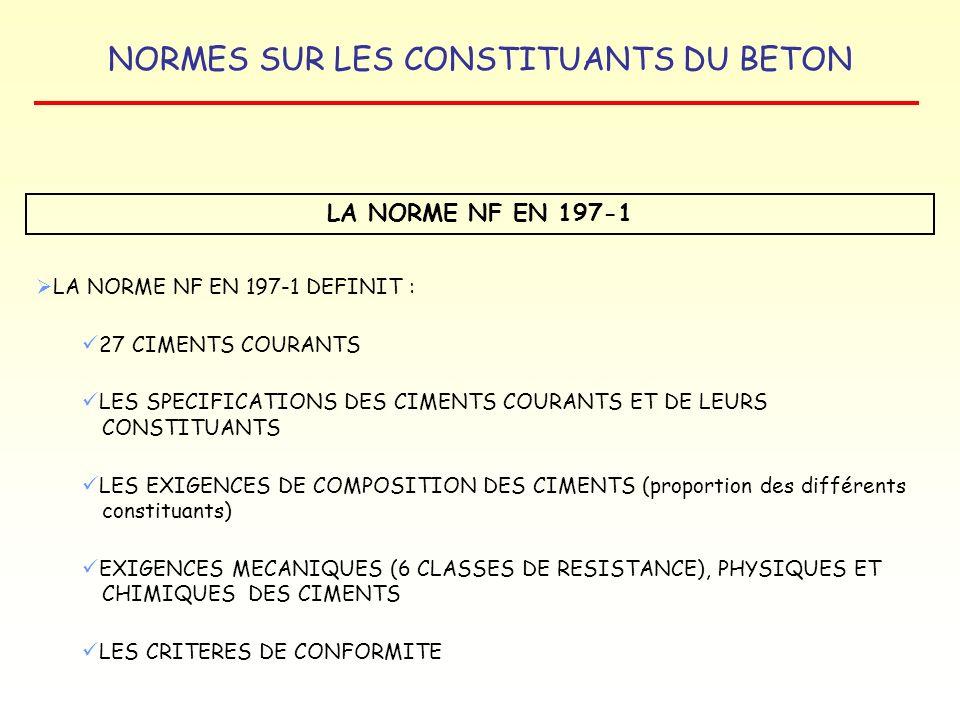 NORMES SUR LES CONSTITUANTS DU BETON LA NORME NF P 18-506 LAITIER VITRIFIÉ MOULU DE HAUT FOURNEAU CARACTÉRISTIQUES PHYSIQUES Granularité et surface massique Blaine Masse volumique absolue : 2 700 à 3 000 kg/m 3 CARACTÉRISTIQUES CHIMIQUES Module chimique : I = CxA : produit de la teneur en chaux par la teneur en alumine Trois catégories de laitier : I1 : CxA 550 Perte au feu Teneur en chlorures Teneurs en alcalins, sulfates, sulfures