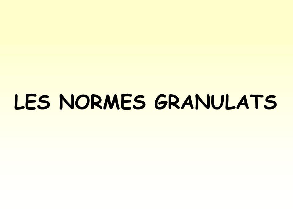 NORMES SUR LES CONSTITUANTS DU BETON LES NORMES GRANULATS
