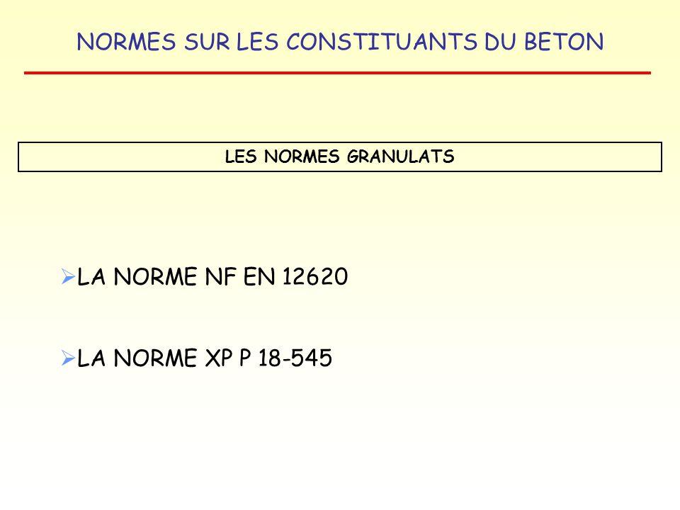 NORMES SUR LES CONSTITUANTS DU BETON LES NORMES GRANULATS LA NORME NF EN 12620 LA NORME XP P 18-545