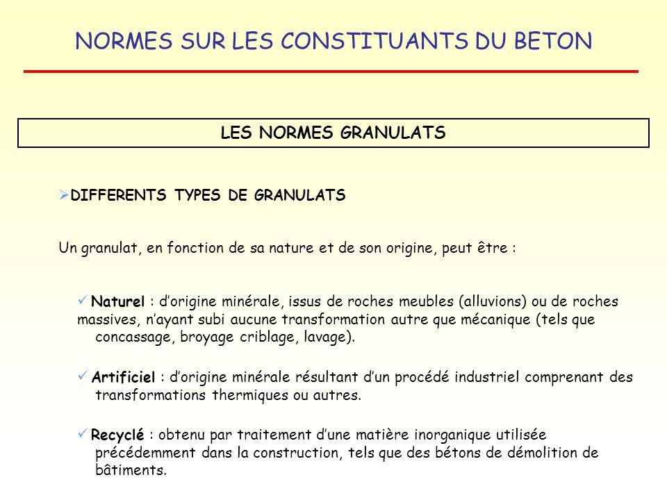 NORMES SUR LES CONSTITUANTS DU BETON LES NORMES GRANULATS DIFFERENTS TYPES DE GRANULATS Un granulat, en fonction de sa nature et de son origine, peut