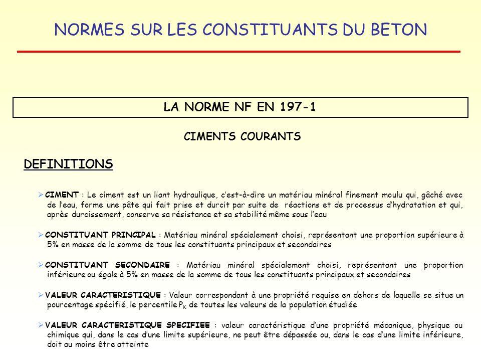 NORMES SUR LES CONSTITUANTS DU BETON LA NORME NF EN 197-1 LES CONSTITUANTS DES CIMENTS CONSTITUANTS PRINCIPAUX : - CLINKER DE PORTLAND : K - LAITIER GRANULÉ DE HAUT FOURNEAU : S - POUZZOLANE NATURELLE : P - POUZZOLANE NATURELLE CALCINÉE : Q - CENDRE VOLANTE SILICEUSE : V CONSTITUANTS SECONDAIRES : - MATERIAUX MINERAUX NATURELS - MATERIAUX MINERAUX DERIVES DU PROCESSUS DE FABRICATION DU CLINKER SULFATE DE CALCIUM : GYPSE-ANHYDRITE CIMENTS COURANTS - CENDRE VOLANTE CALCIQUE : W - SCHISTE CALCINE : T - CALCAIRE : L et LL (L TOC (*) < 0,5 % - LL TOC < 0,2 %) - FUMEES DE SILICE : D (*) TOC : carbone organique totale