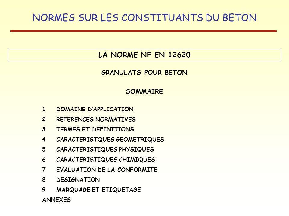 NORMES SUR LES CONSTITUANTS DU BETON LA NORME NF EN 12620 GRANULATS POUR BETON SOMMAIRE 1 DOMAINE DAPPLICATION 2REFERENCES NORMATIVES 3TERMES ET DEFIN