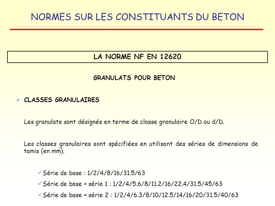 NORMES SUR LES CONSTITUANTS DU BETON LA NORME NF EN 12620 GRANULATS POUR BETON CLASSES GRANULAIRES Les granulats sont désignés en terme de classe gran