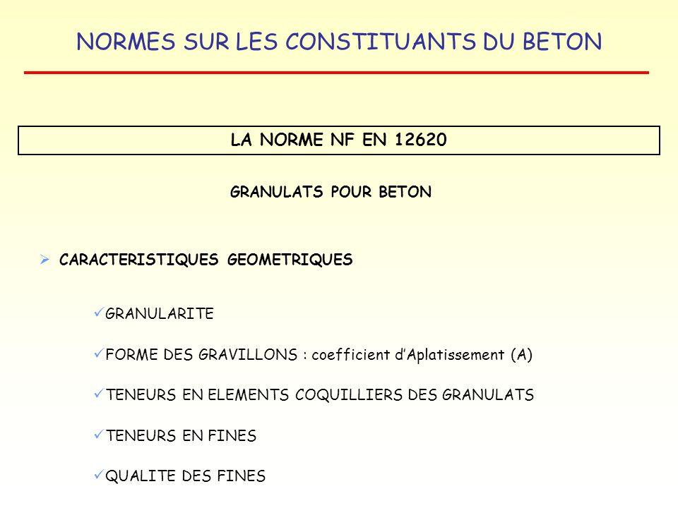 NORMES SUR LES CONSTITUANTS DU BETON LA NORME NF EN 12620 GRANULATS POUR BETON CARACTERISTIQUES GEOMETRIQUES GRANULARITE FORME DES GRAVILLONS : coeffi