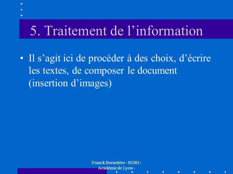 5. Traitement de linformation Il sagit ici de procéder à des choix, décrire les textes, de composer le document (insertion dimages) Franck Bernetière