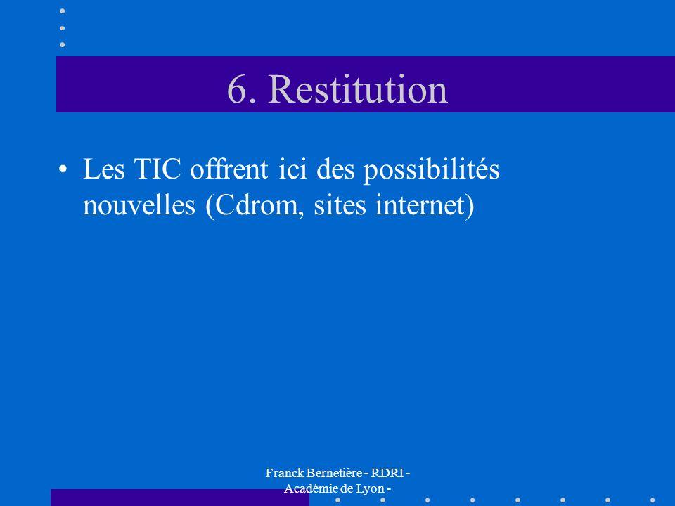 6. Restitution Les TIC offrent ici des possibilités nouvelles (Cdrom, sites internet) Franck Bernetière - RDRI - Académie de Lyon -