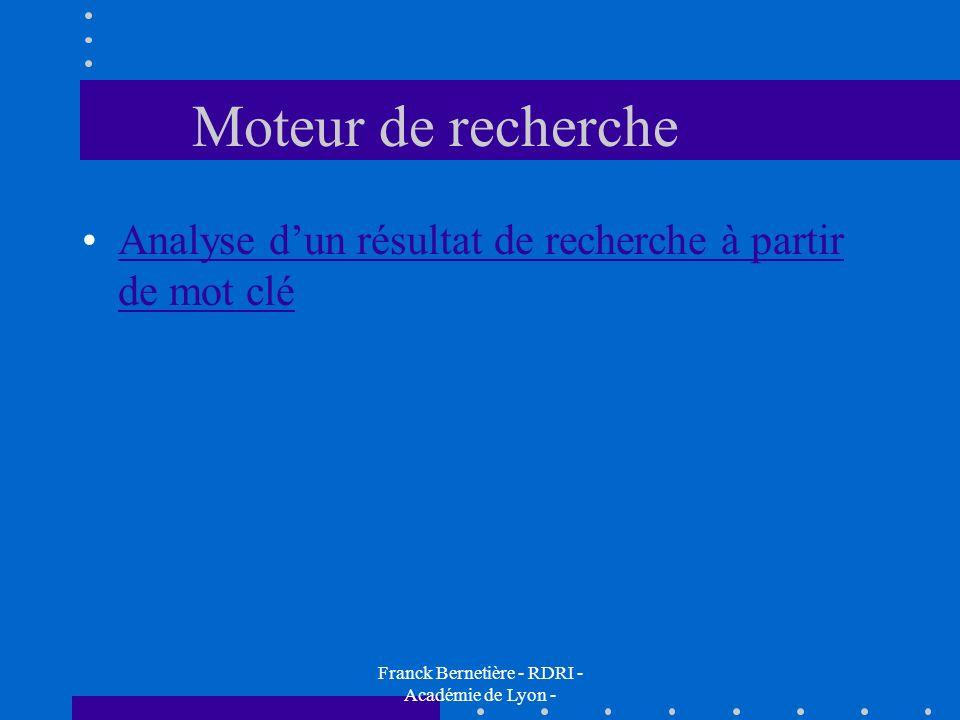 Moteur de recherche Analyse dun résultat de recherche à partir de mot cléAnalyse dun résultat de recherche à partir de mot clé Franck Bernetière - RDR