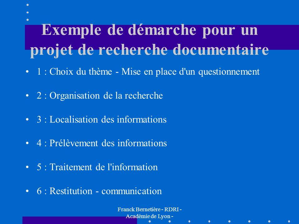 Exemple de démarche pour un projet de recherche documentaire 1 : Choix du thème - Mise en place d'un questionnement 2 : Organisation de la recherche 3