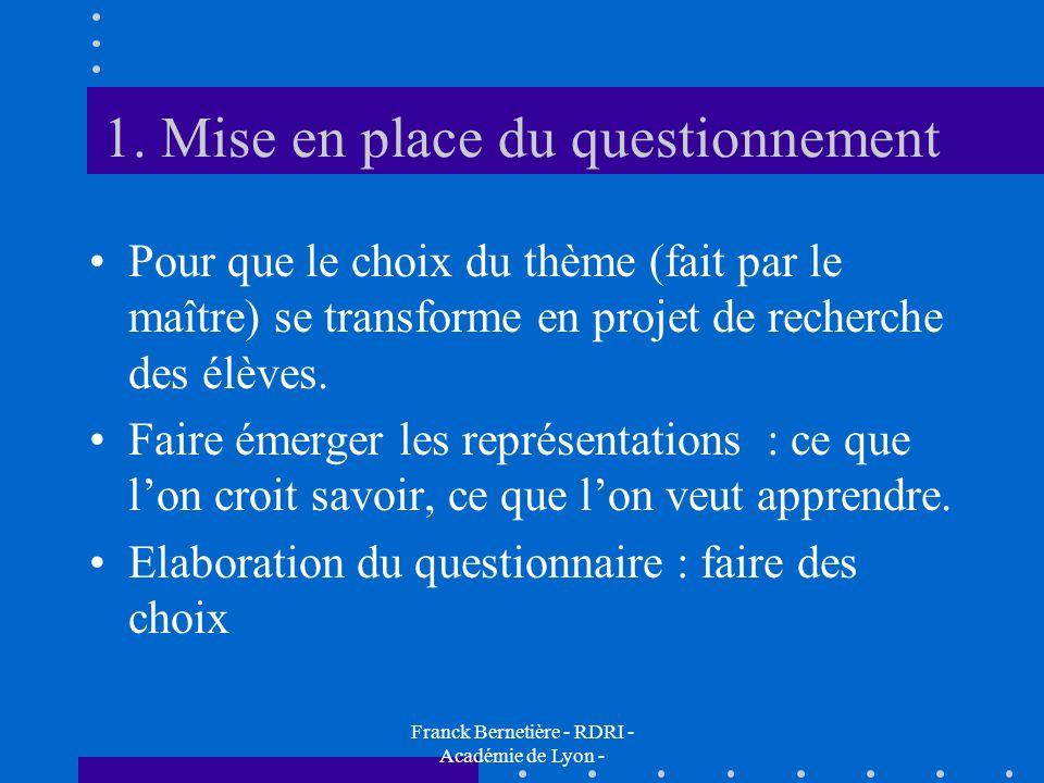 1. Mise en place du questionnement Pour que le choix du thème (fait par le maître) se transforme en projet de recherche des élèves. Faire émerger les