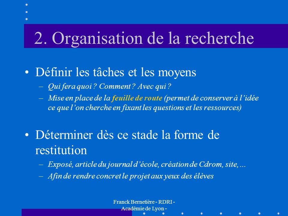 2. Organisation de la recherche Définir les tâches et les moyens –Qui fera quoi ? Comment ? Avec qui ? –Mise en place de la feuille de route (permet d