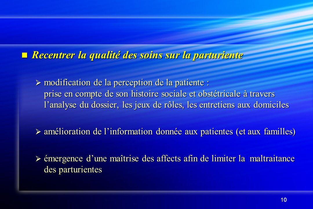 10 Recentrer la qualité des soins sur la parturiente Recentrer la qualité des soins sur la parturiente modification de la perception de la patiente :