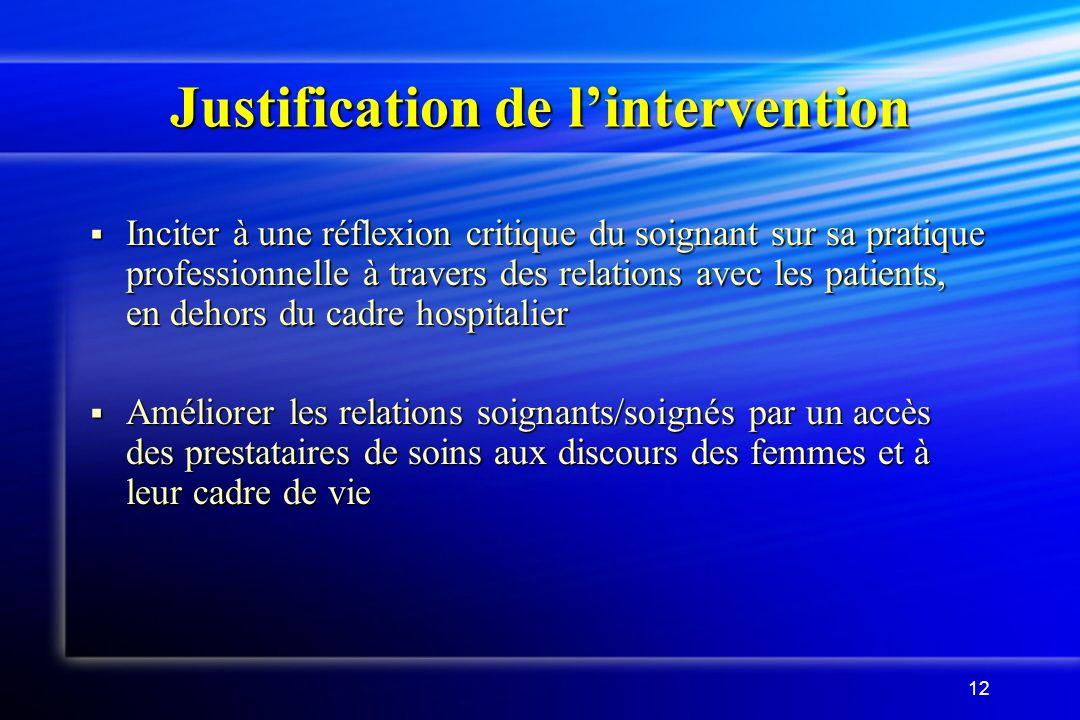 12 Justification de lintervention Inciter à une réflexion critique du soignant sur sa pratique professionnelle à travers des relations avec les patien