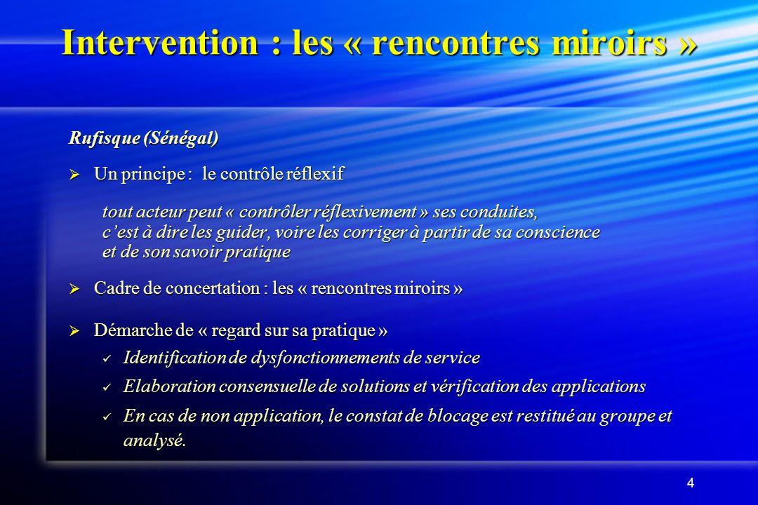 4 Intervention : les « rencontres miroirs » Rufisque (Sénégal) Un principe : le contrôle réflexif Un principe : le contrôle réflexif tout acteur peut