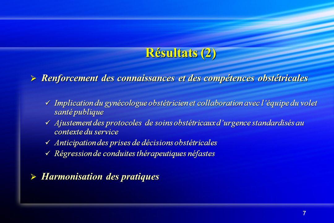 7 Résultats (2) Renforcement des connaissances et des compétences obstétricales Renforcement des connaissances et des compétences obstétricales Implic