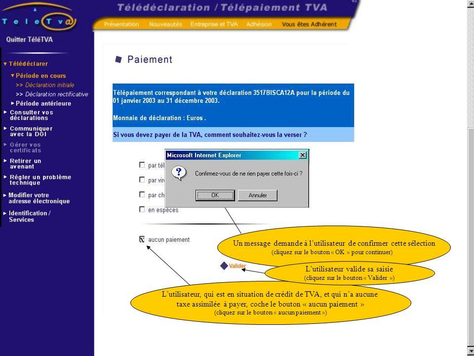 Lutilisateur, qui est en situation de crédit de TVA, et qui na aucune taxe assimilée à payer, coche le bouton « aucun paiement » (cliquez sur le bouto