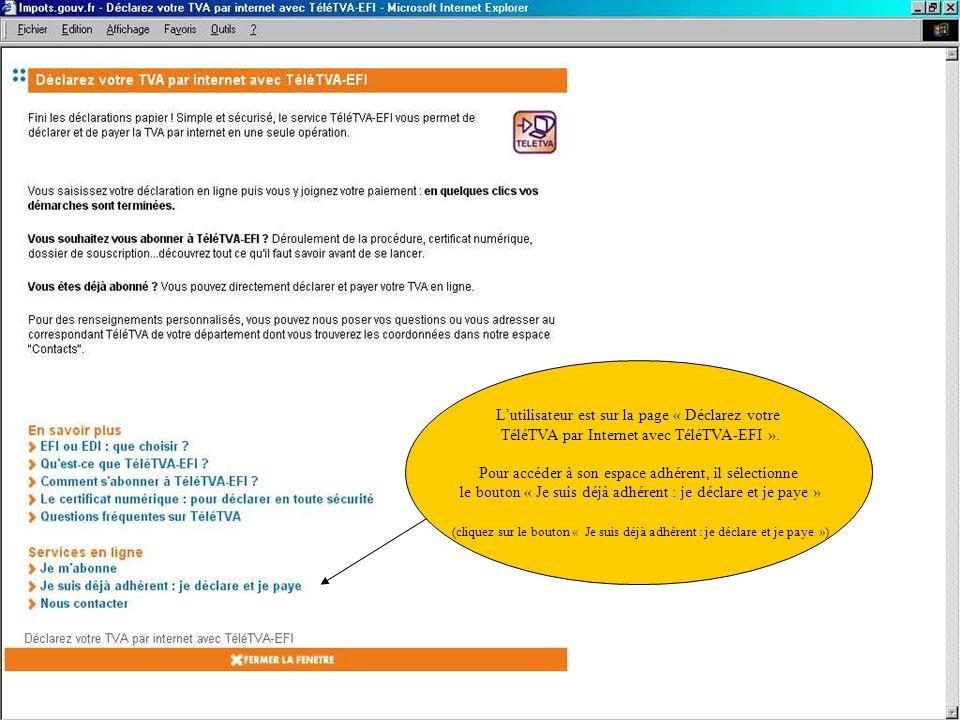 Lutilisateur est sur la page « Déclarez votre TéléTVA par Internet avec TéléTVA-EFI ». Pour accéder à son espace adhérent, il sélectionne le bouton «
