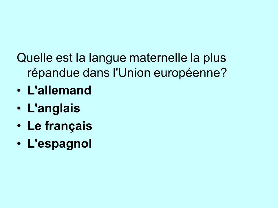 Quelle est la langue maternelle la plus répandue dans l'Union européenne? L'allemand L'anglais Le français L'espagnol