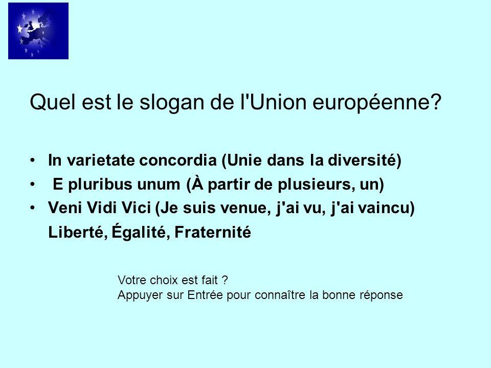 Quel est le slogan de l'Union européenne? In varietate concordia (Unie dans la diversité) E pluribus unum (À partir de plusieurs, un) Veni Vidi Vici (