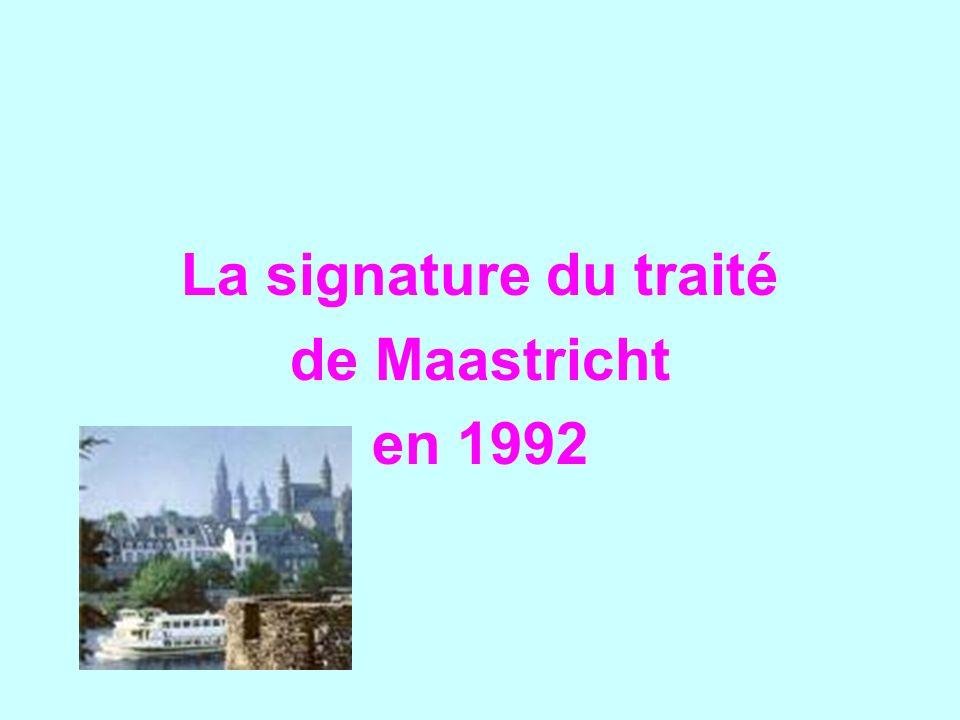 La signature du traité de Maastricht en 1992