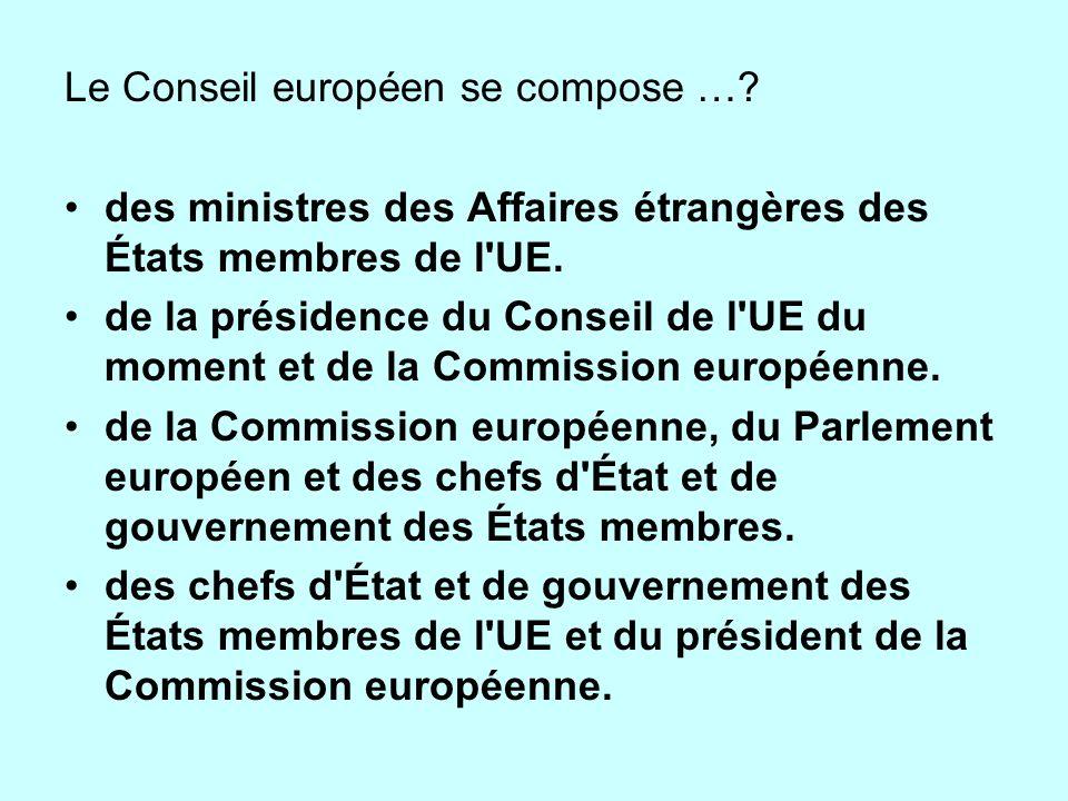 Le Conseil européen se compose …? des ministres des Affaires étrangères des États membres de l'UE. de la présidence du Conseil de l'UE du moment et de